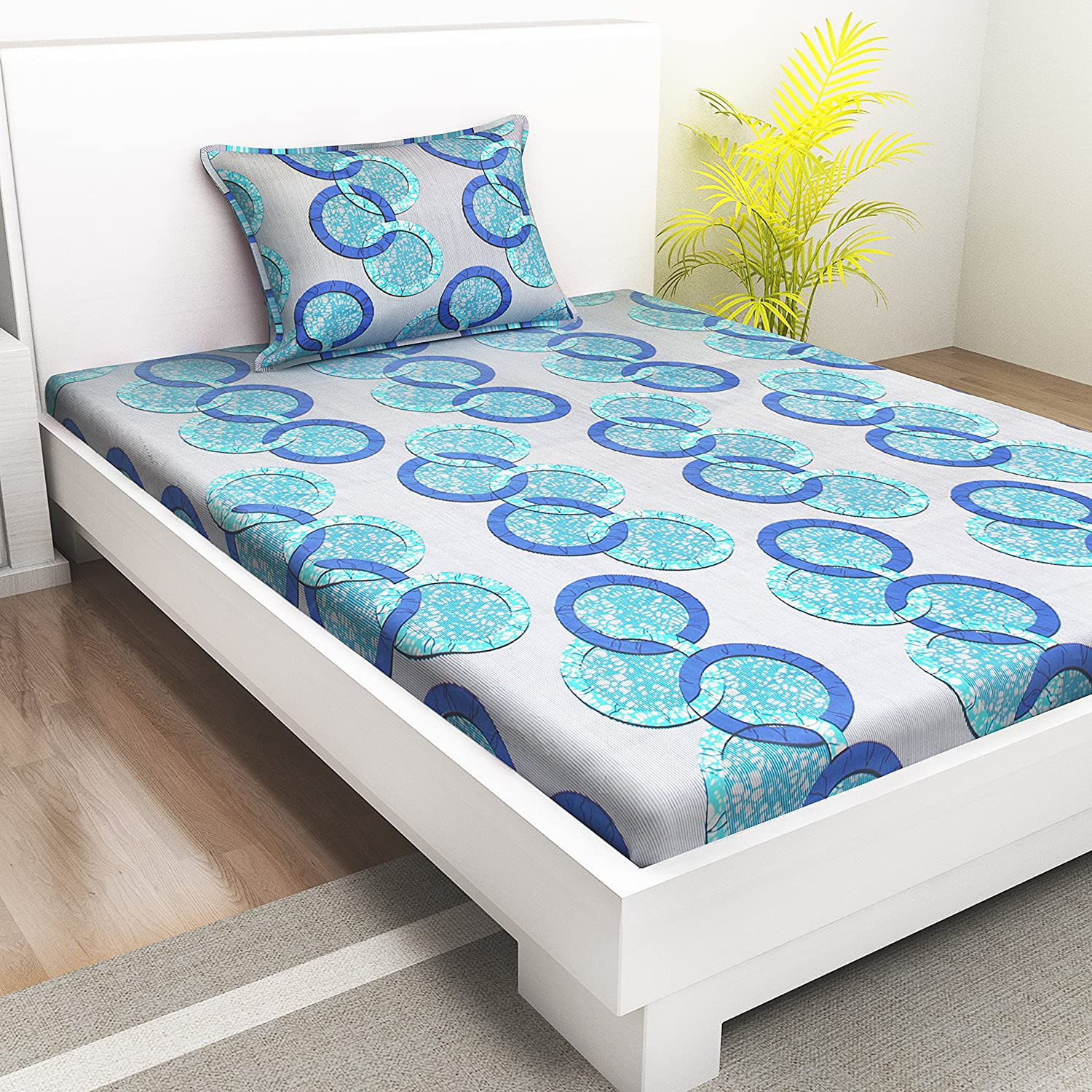 0df9eb430b Indiana Home 100% Cotton Single Bed Sheet with 1 Pillow Cover|Blue|Geometric:  Amazon.in: Home & Kitchen