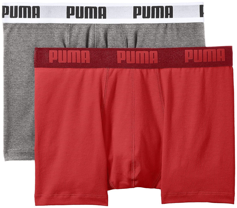 Mehrfarbig (grau rot) PUMA Herren Basic Boxer 2P Unterwäsche