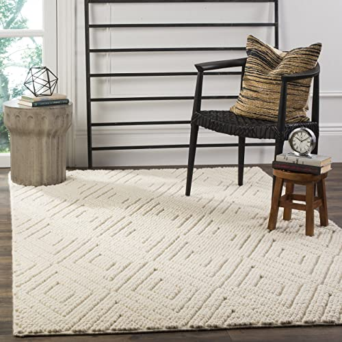 Safavieh Natura Collection NAT623A Hand-Woven Ivory Wool Area Rug 6 x 9