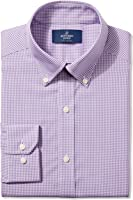 Buttoned Down Men's Fitted Button-Collar Pattern Non-Iron Dress Shirt (No Pocket)