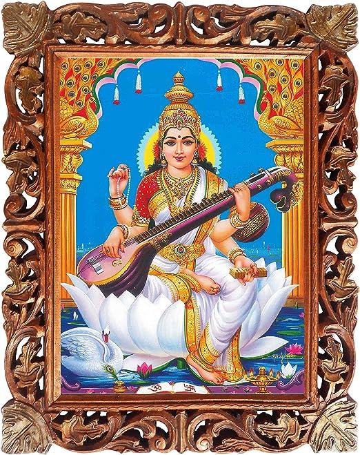 Amazon.com: Elegante Cartel de Maa Saraswati En Marco de ...