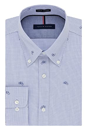 15d3db4f Tommy Hilfiger Men's Non Iron Slim Fit Print Buttondown Collar Dress Shirt  at Amazon Men's Clothing store: