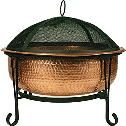 Amazon Com Global Outdoors 26 Genuine Copper Fire Pit With Screen Cover And Safety Poker Garden Outdoor