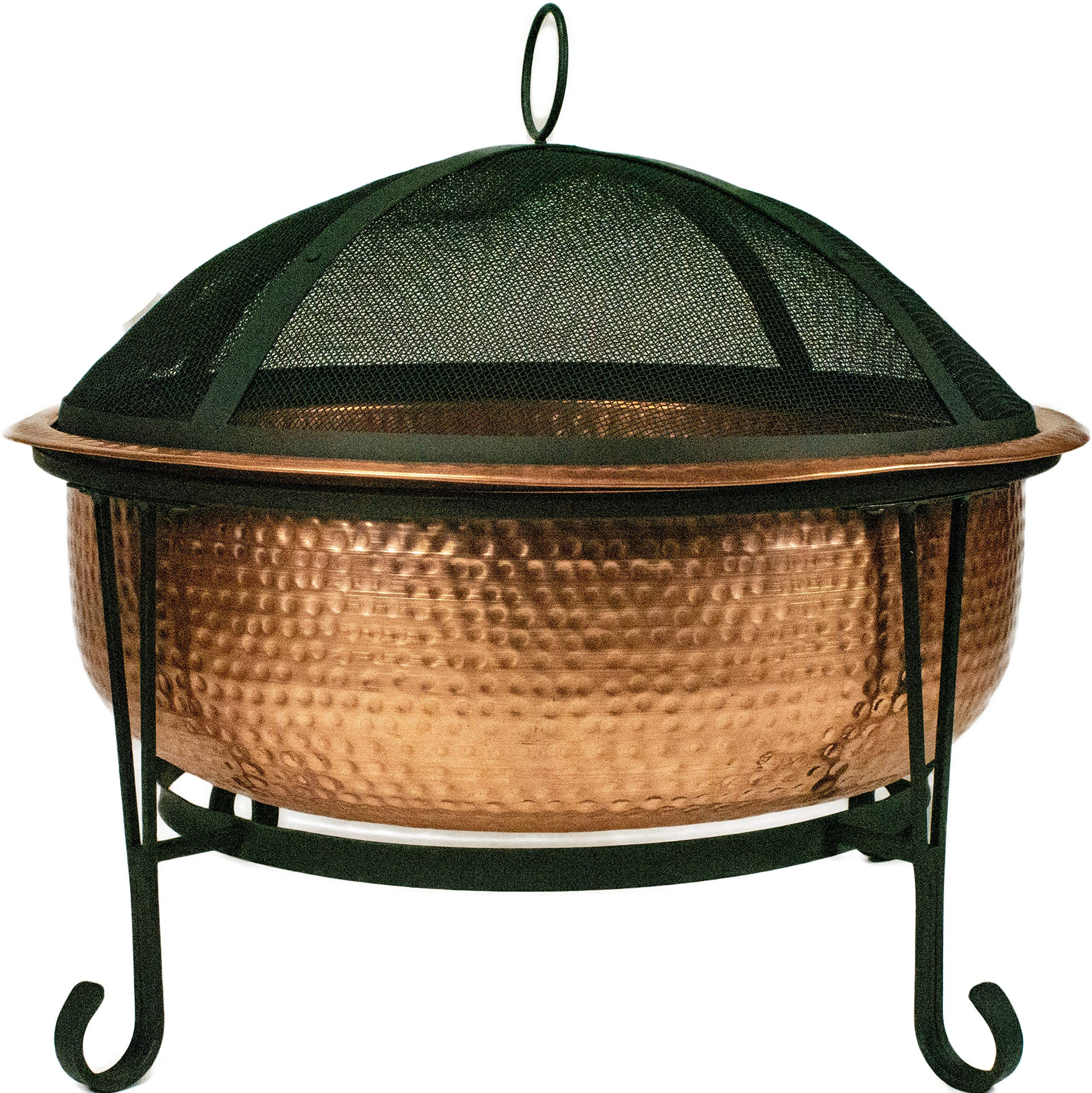 Global Outdoors 26.5'' Genuine Copper Deep Bowl Fire Pit with Screen, Cover and Safety Poker by Global Outdoors, Inc.