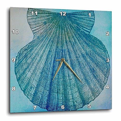 3dRose DPP_79342_3 Large Aqua Shell Beach Theme Art Wall Clock, 15 by 15-Inch