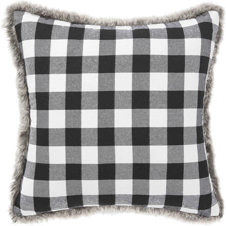 20-inch Eddie Bauer Cabin Plaid Square Pillow Black