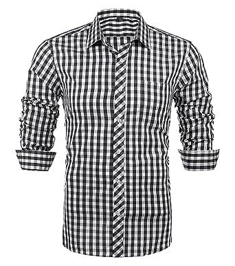 Schonlos Karierte Hemden Herren Langarm Hemd aus Reiner Baumwolle Slim fit  Shirts Party Freizeit Casual( bf4aebde49