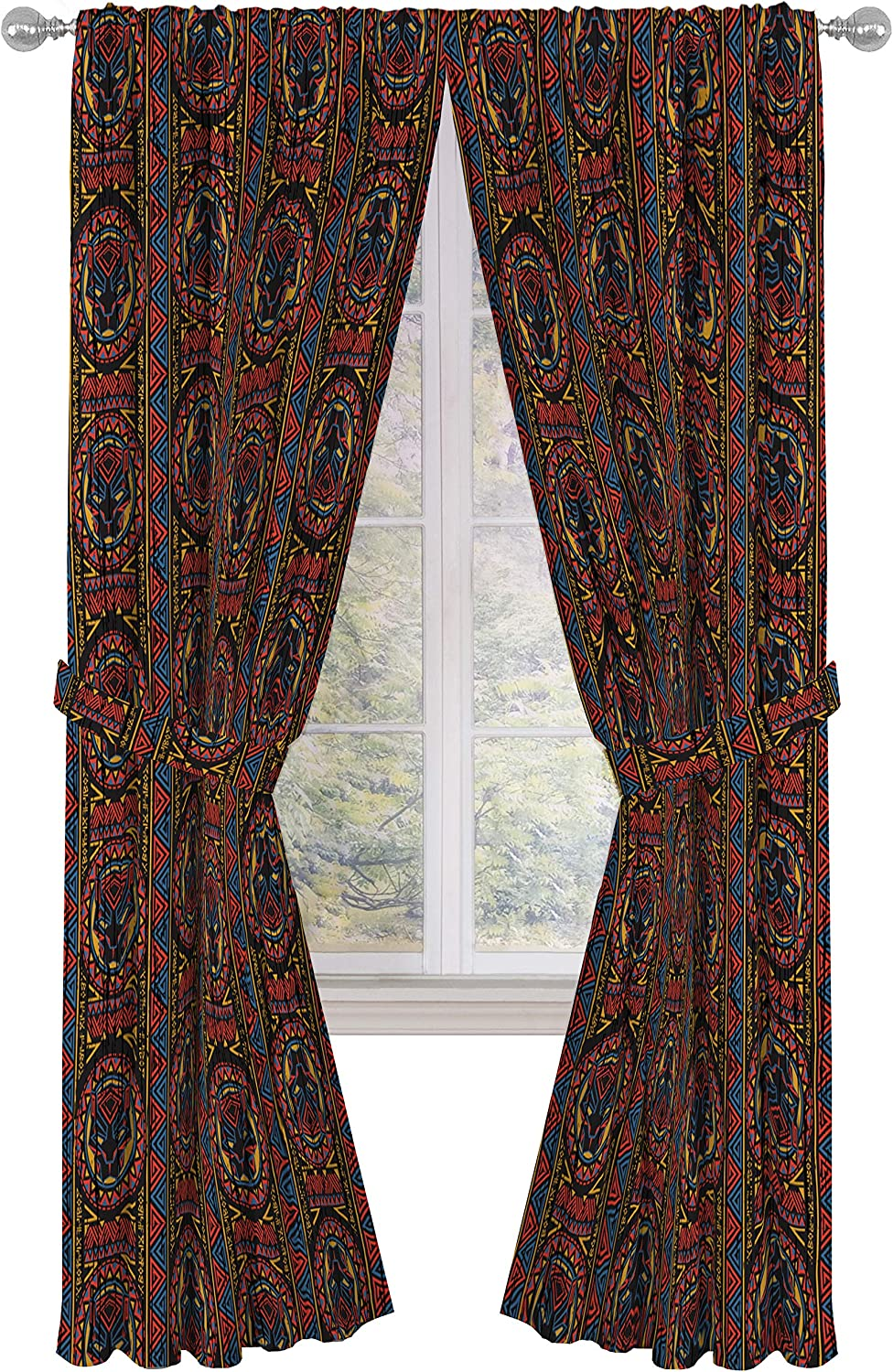 Beautiful Room D/écor /& Easy Set up Jay Franco Marvel Black Panther Tribal 63 inch Drapes 4 Piece Set Official Marvel Product Window Curtains Include 2 Panels /& 2 Tiebacks