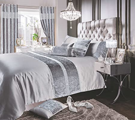 1f36ad61f599b Luxury Sparkle / Bling Crushed Velvet Diamante Faux Silk Bedding Set Duvet  / Quilt Cover and Pillowcase Set (Silver, King): Amazon.co.uk: Kitchen &  Home