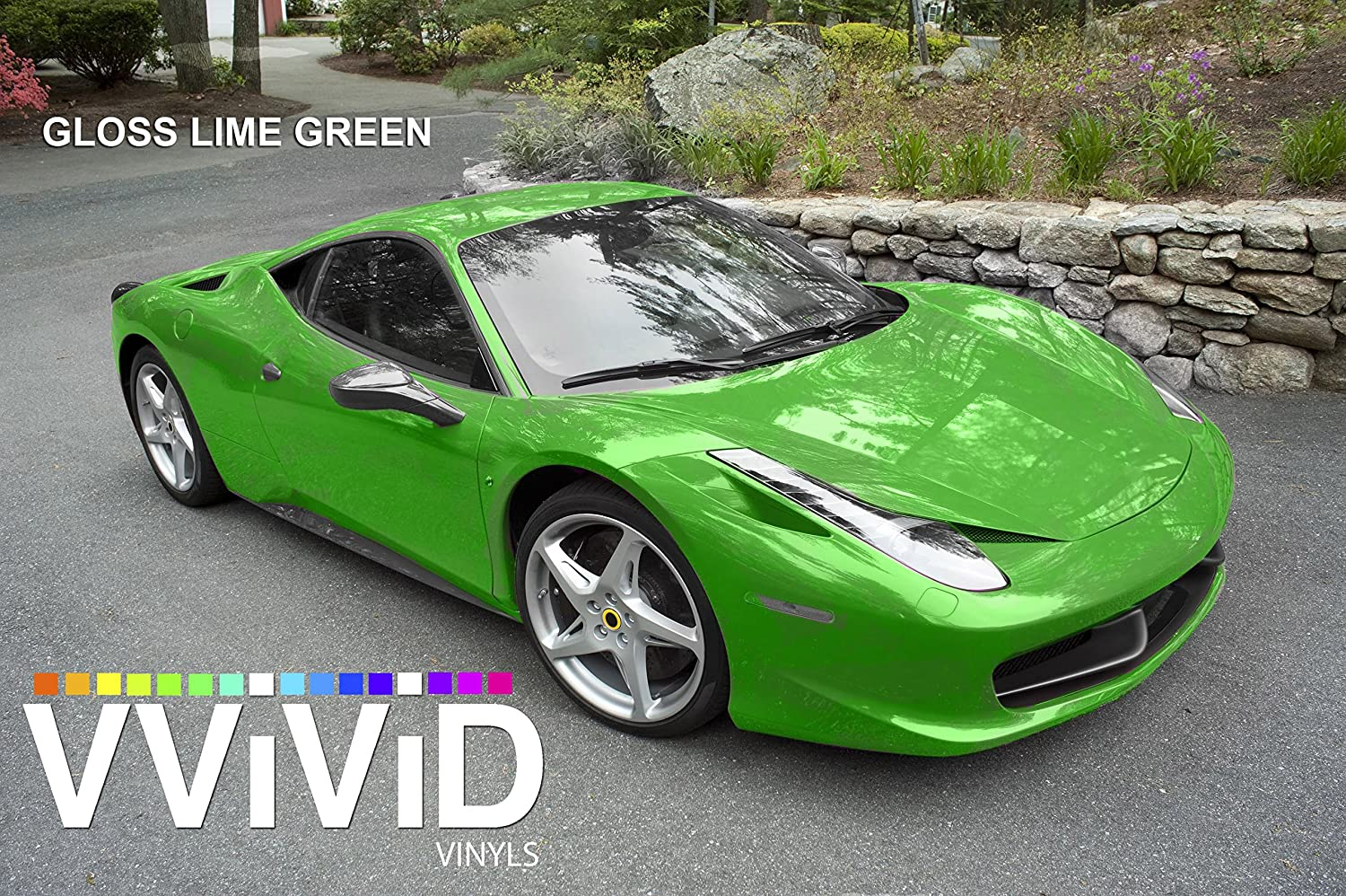 VViViD Lime Green Gloss Car Wrap Vinyl Roll with Air Release 3mil Hood, Roof or Trunk Wrap Kit 6ft x 5ft