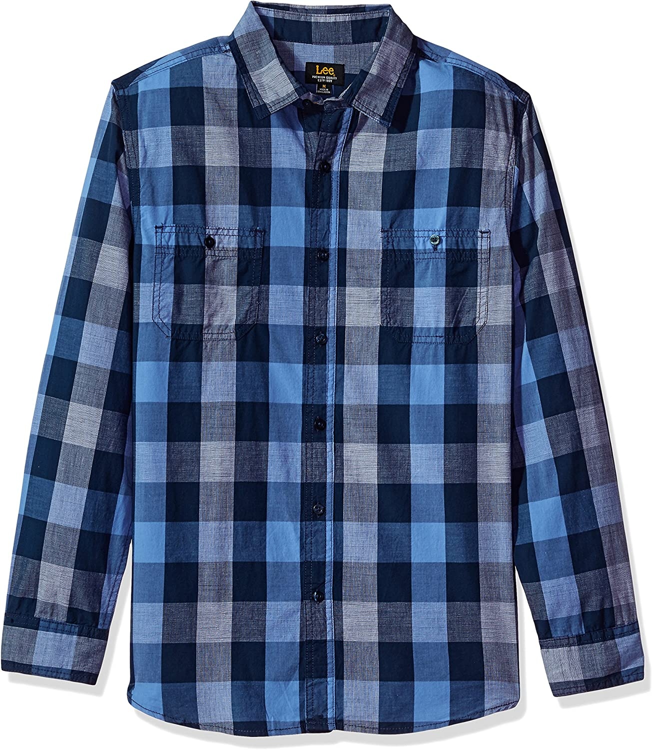 LEE Mens Long Sleeve Plaid Button Down Shirts