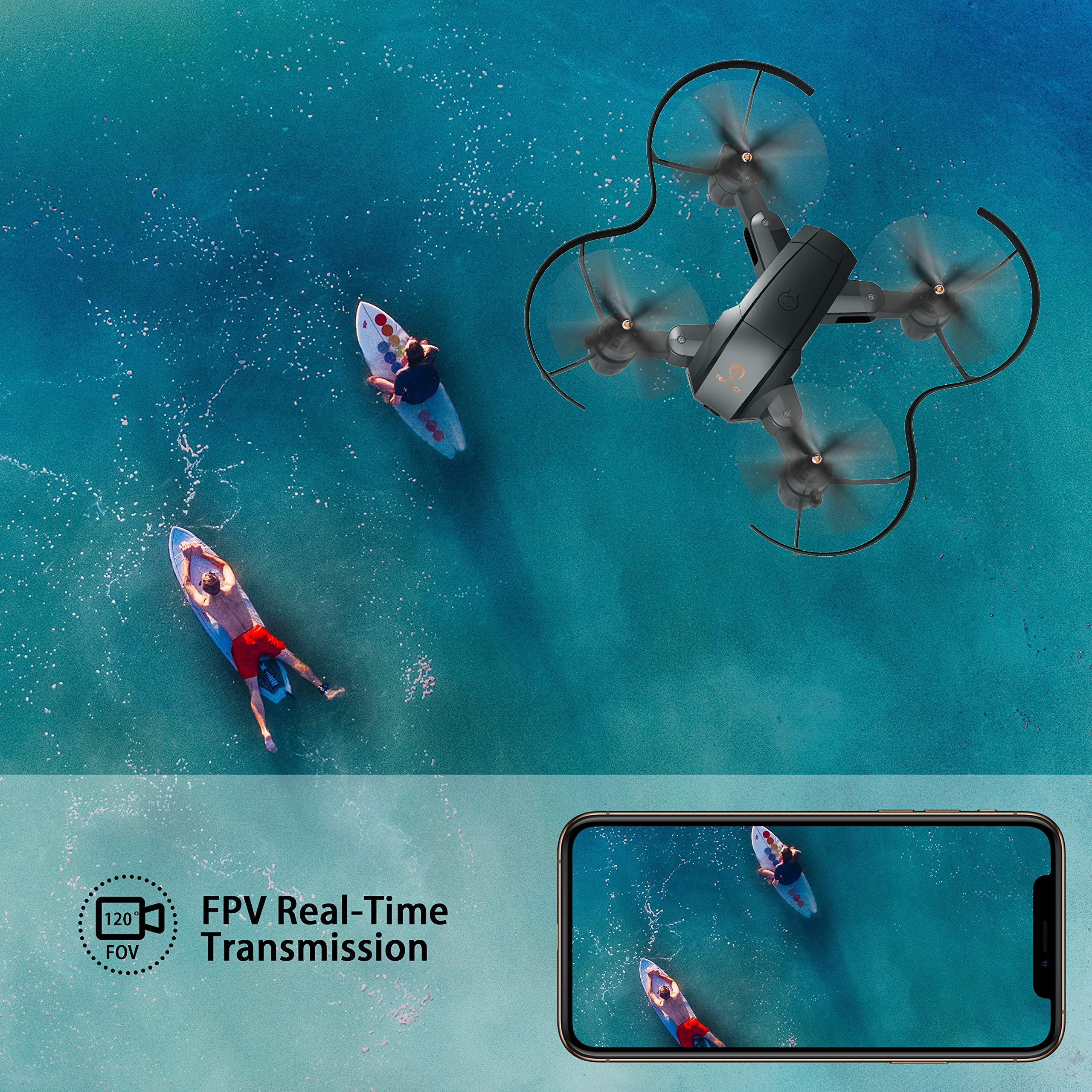 Drone with Camera, TOPVISION Foldable Quadcopter RC Drone with WiFi FPV HD Camera Live Video, Altitude Hold, One Key Start, APP Control, Black by T TOPVISION (Image #3)