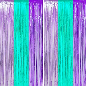 Teal Purple Tinsel Foil Fringe Curtains - Under The Sea Baby Shower Birthday Photo Backdrops Wedding Summer Beach Pool Party Decor Photo Booth Props Backdrops Decorations, 2PC