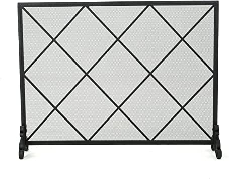 Amazon Com Christopher Knight Home Howell Single Panel Iron Fireplace Screen Black Furniture Decor