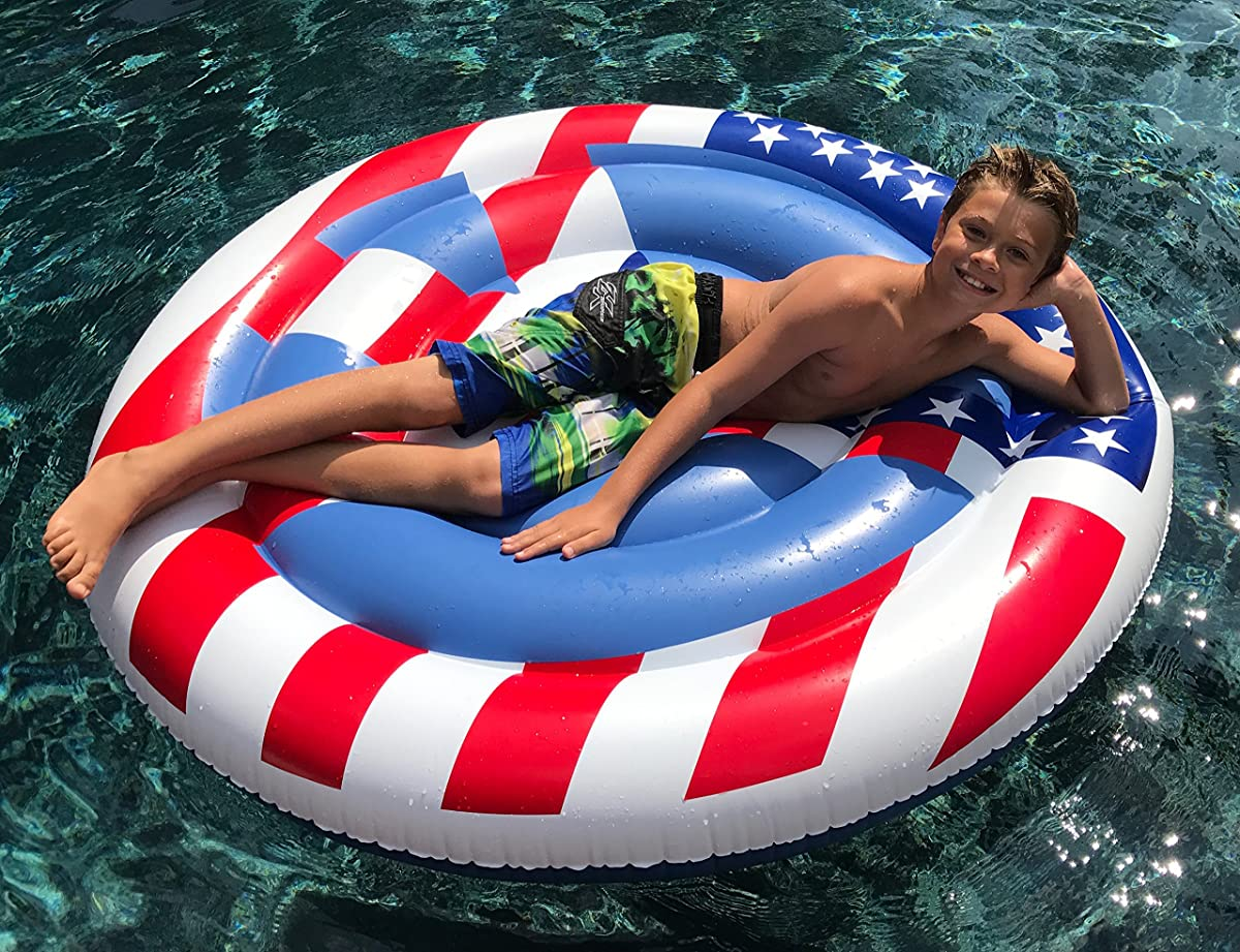 TheGag Peace Sign Pool Float American USA Flag for Labor Day Memorial Day 4th of July Summer Fun Red White Blue Colors Patriotic Inflatable Swimming Pool Float