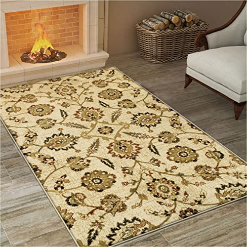 Superior Canterbury Collection Area Rug, Classic Floral Pattern, 10mm Pile Height with Jute Backing, Affordable Contemporary Rugs – 2 7 x 8 Runner
