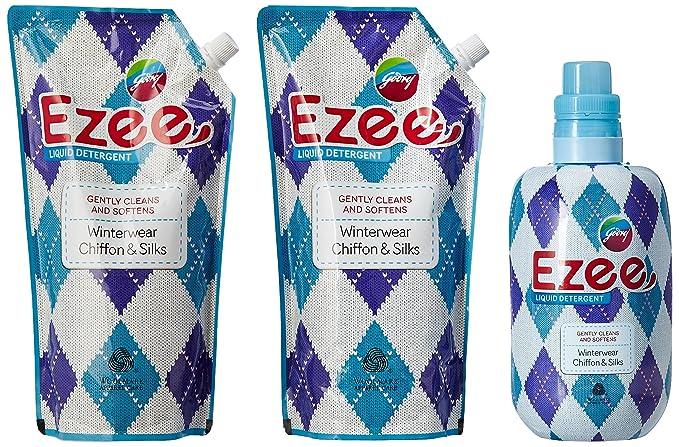 Godrej Ezee Liquid Detergent - 1 kg with Two Refills - 1 kg (3 kg Pack)