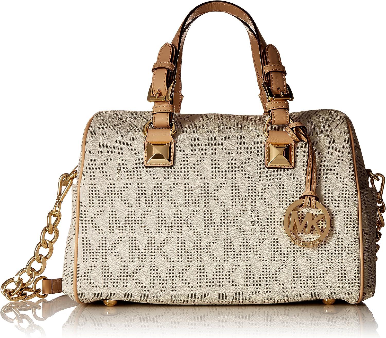 Michael Kors Grayson Medium Satchel Handbag in Vanilla PVC
