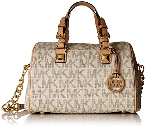 4ee48f2bc206 Michael Kors Grayson Medium Satchel Handbag in Vanilla PVC - Cream ...