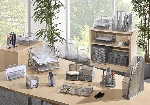 Osco 3TT-SLV - Bandeja para cartas de 3 niveles de malla metálica, color plateado: Amazon.es: Oficina y papelería