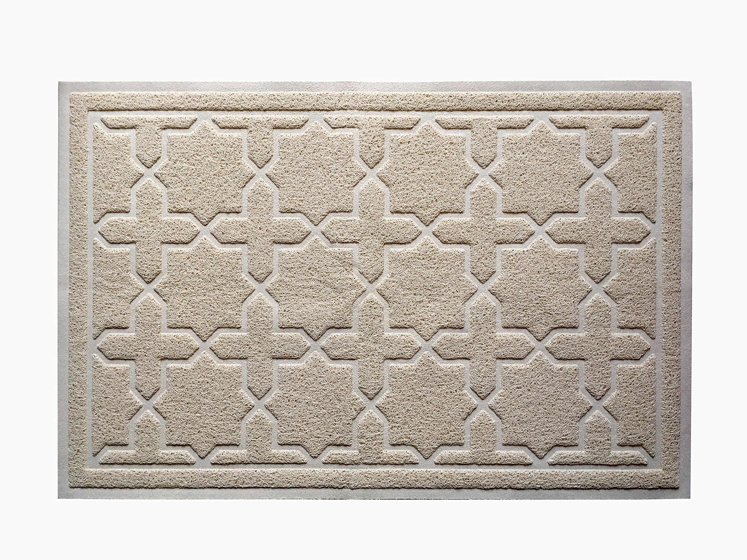 CLC Signature Cat Litter Mat from Antimicrobial Non-Slip Pet Feeding Mat in Extra Large (XL Size 35 inches by 23 inches). New Modern Design. Keeps Litter & Residue Off Floors. (Beige)