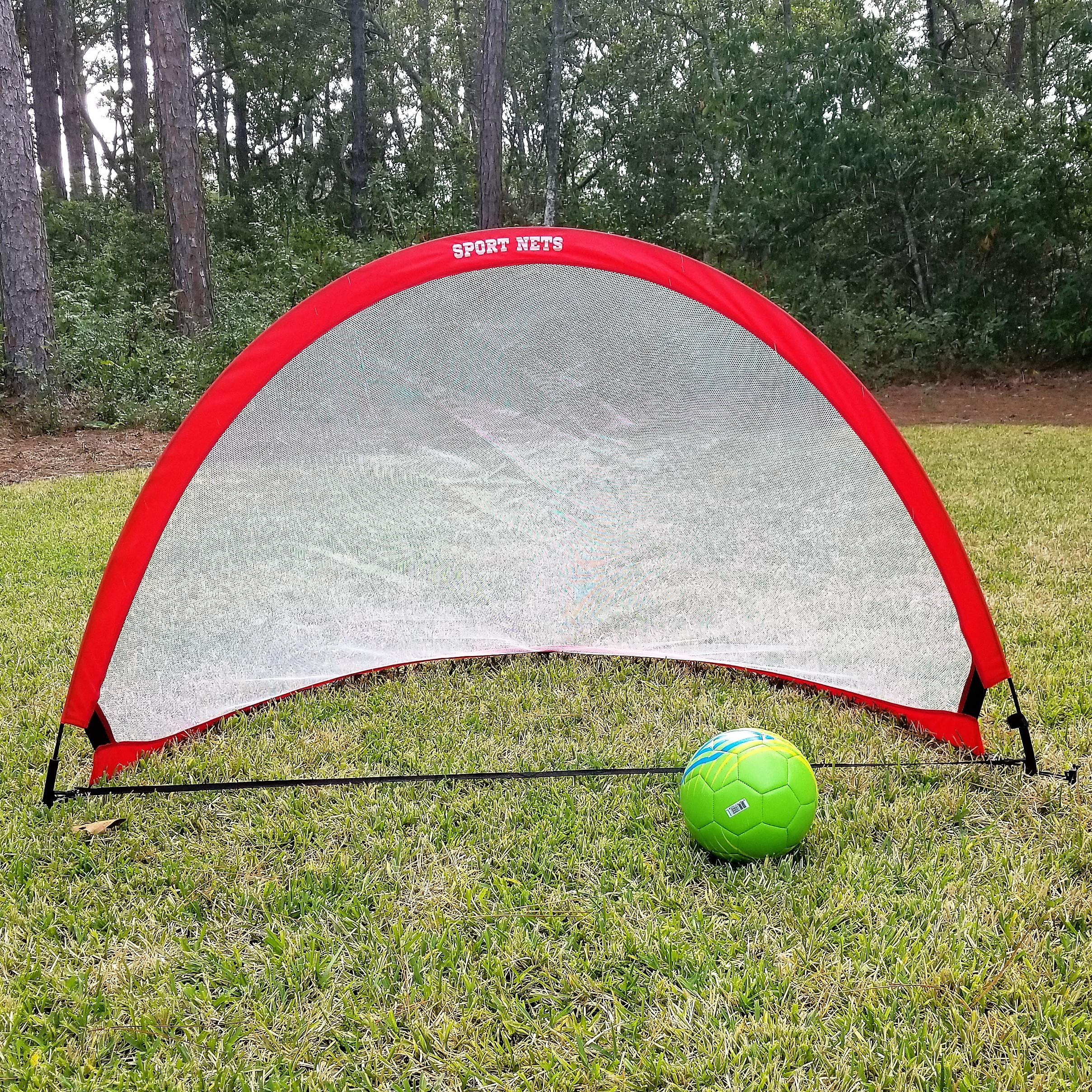 Sport Nets Portable Pop-Up Soccer Goals - Set of Two Soccer Nets with Carry Bag - Portable and Foldable 2.5ft, 4ft and 6ft Size Sets For Kids and Adults Soccer Training (6 FT (2 Goals & Bag))