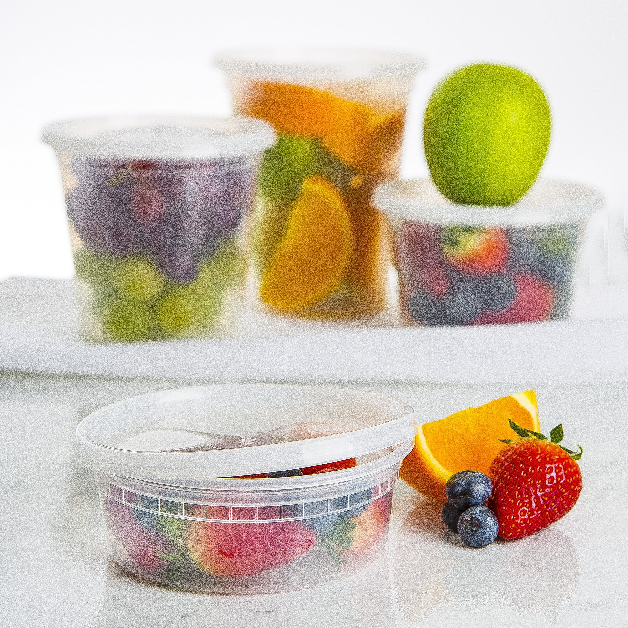 50pk 8oz Small Plastic Containers with Lids - Slime Containers with lids Freezer Containers Deli Containers with Lids - Food Containers Meal Prep Food Prep Containers Plastic Food Containers with Lids by Prep Naturals (Image #3)