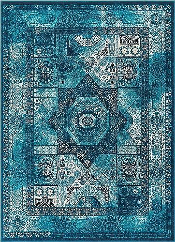 Well Woven Fabri Medallion Blue Modern Distressed Traditional Vintage Orienital 4×6 3 11 x 5 3 Area Rug
