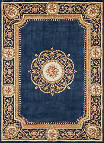 Momeni Harmony India Wool Hand Tufted Medallion Blue Area Rug 5' X 8' HARM2HAI12BLU5080