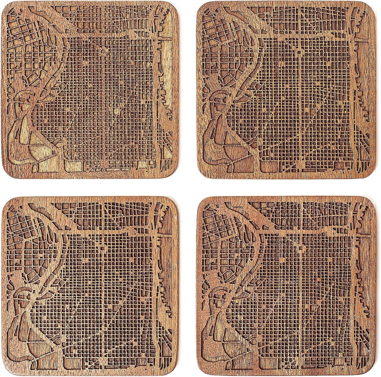 Philadelphia Map Coaster by O3 Design Studio, Set Of 4, Sapele Wooden Coaster With City Map, Handmade