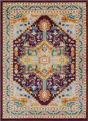 Well Woven Vettore Celesita Traditional Vintage Medallion Purple Area Rug 7'10″ x 10'6″