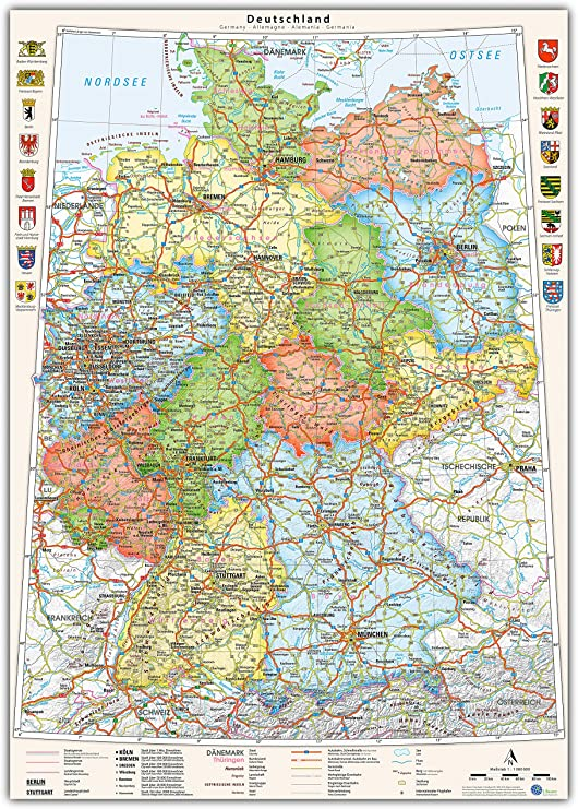 J Bauer Karten Poster Deutschland Karte Politisch Bundeslander 70