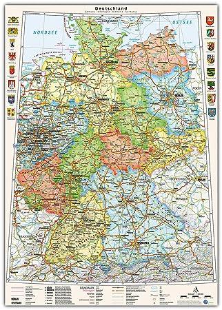 Karte Bundesländer.J Bauer Karten Poster Deutschland Karte Politisch Bundesländer 70 X 100 Cm Mit Wappen Und Relief Schummerung