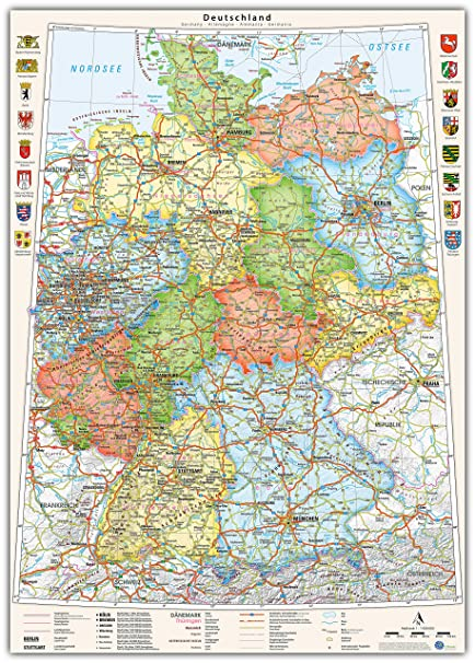 Map Of Germany Political Wall Poster German And English Size 70
