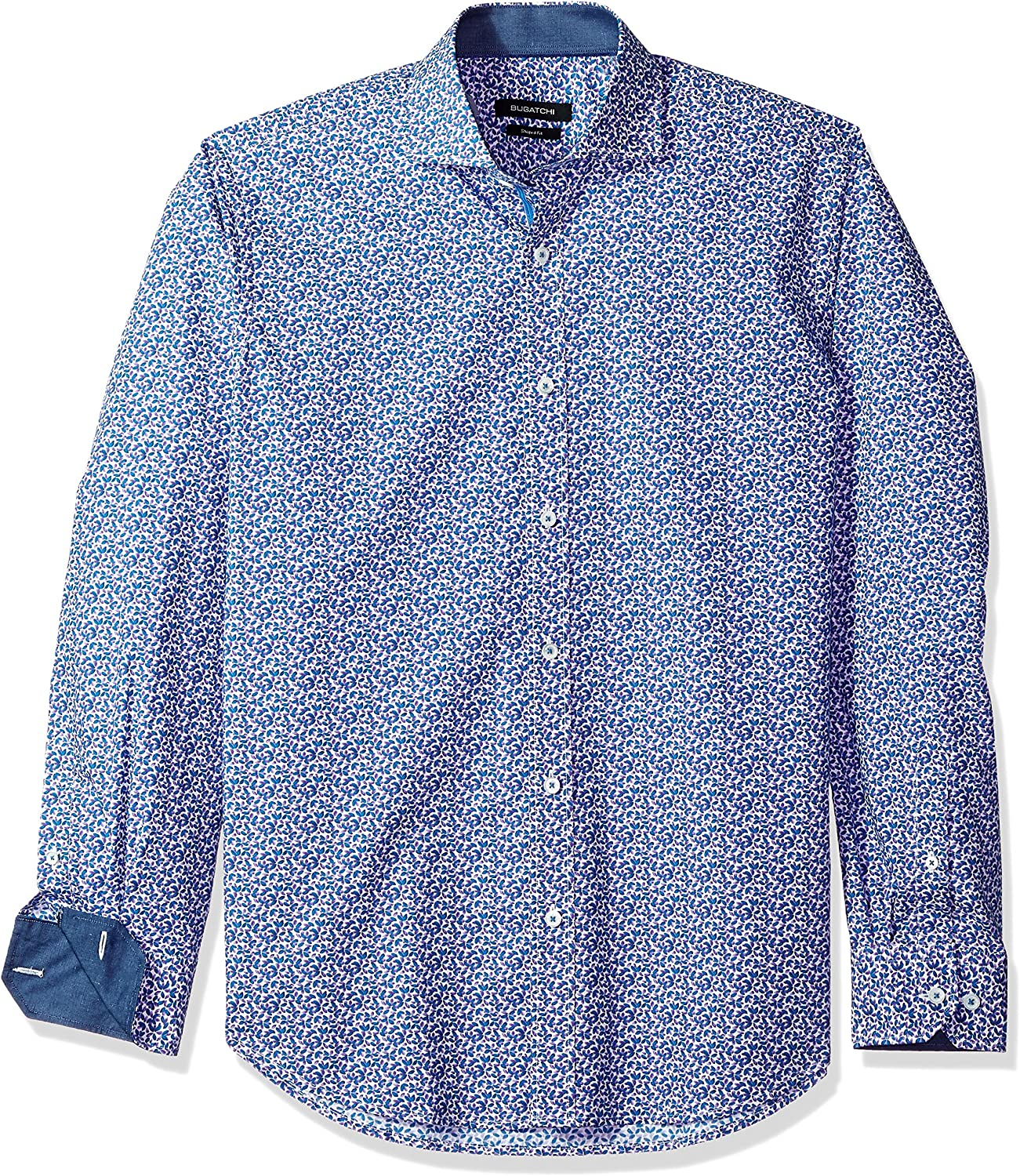 Bugatchi Mens Long Sleeve Tailored Fit Printed Cotton Sport Shirt