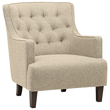 Stone & Beam Decatur Modern Tufted Wingback Living Room Accent Chair, 32.3 W, Oatmeal