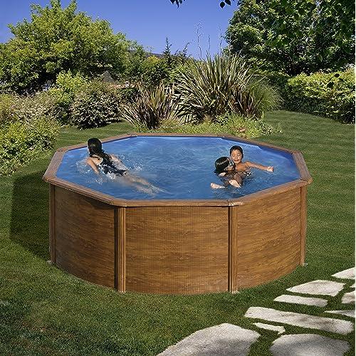 Gre KIT350W- Piscina Pacific desmontable redonda de acero decoración madera Ø350x120 cm