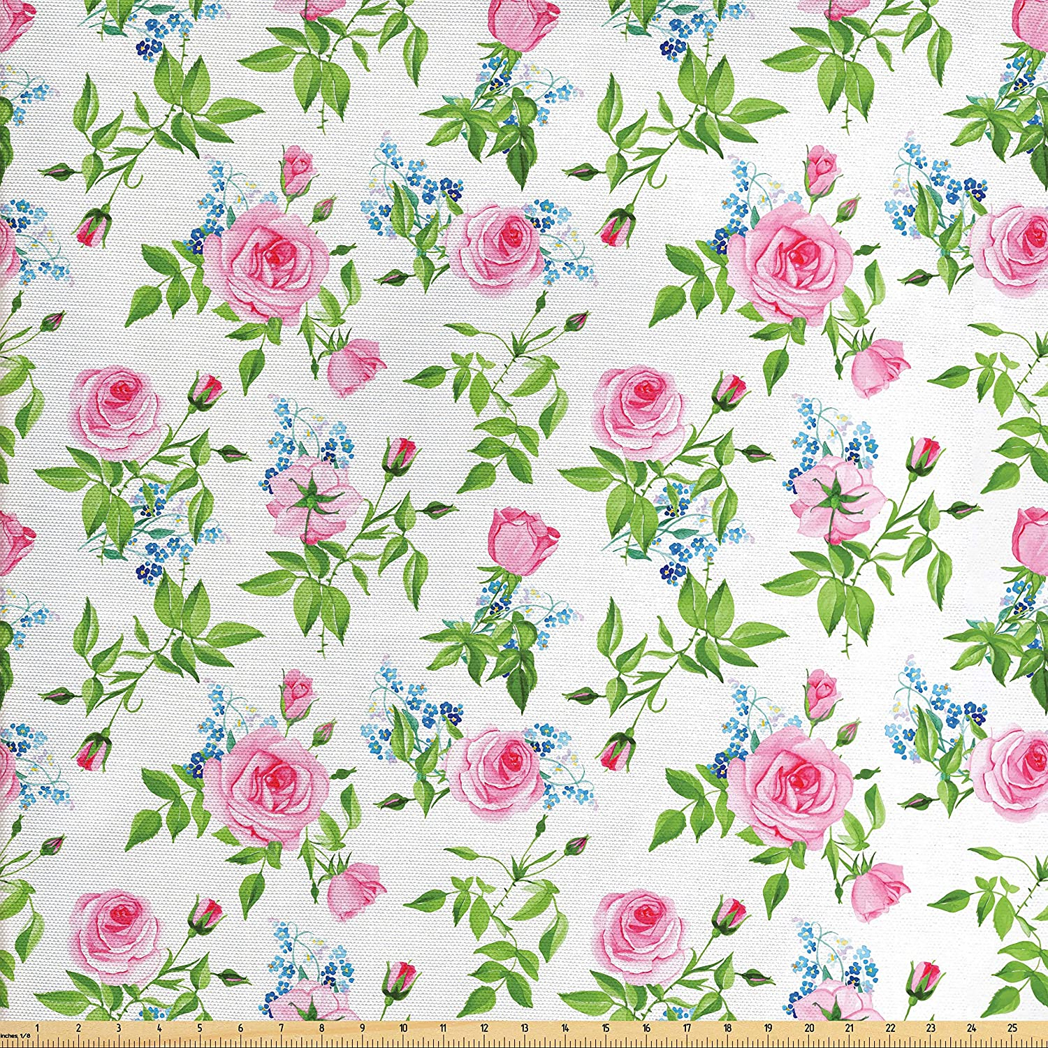 Amazon Com Lunarable Shabby Chic Fabric By The Yard Forget Me Not