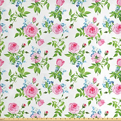 Amazoncom Lunarable Shabby Chic Fabric By The Yard Forget Me Not