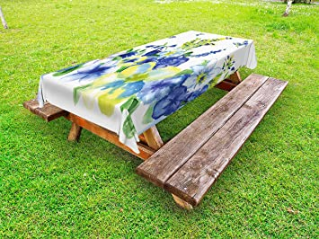0b7932e8f765 Amazon.com  Ambesonne Yellow and Blue Outdoor Tablecloth