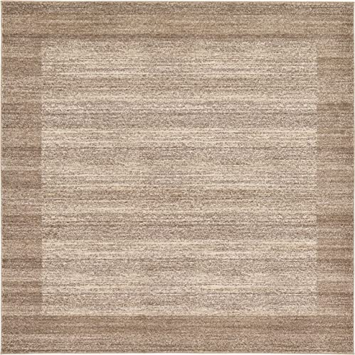 Unique Loom Del Mar Collection Contemporary Transitional Beige Square Rug 8 0 x 8 0