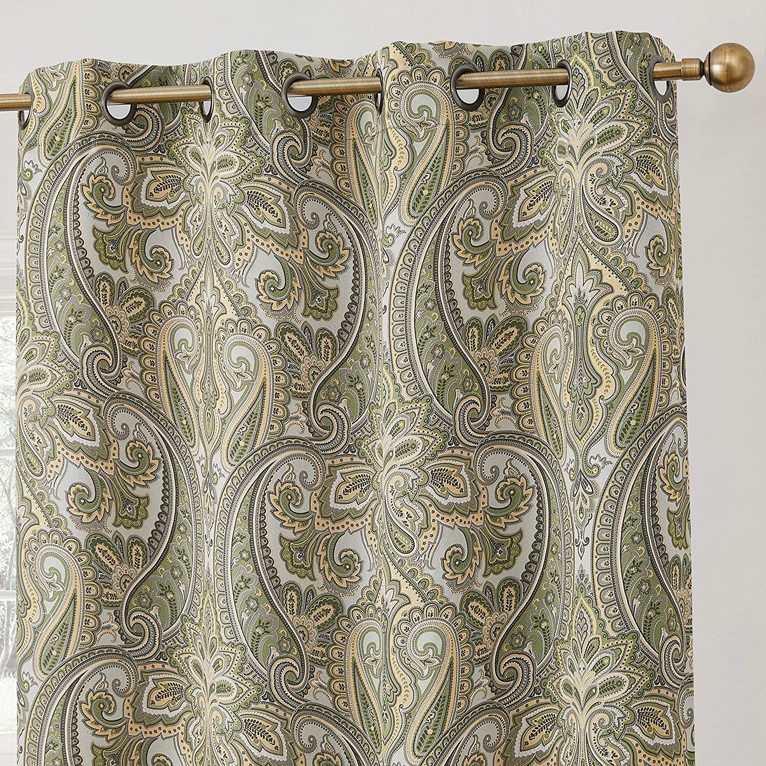 HLC.ME Paris Paisley Decorative Print Damask Pattern Thermal Insulated Blackout Energy Savings Room Darkening Soundproof Grommet Window Curtain Panels for Bedroom - Set of 2 (50 x 54 Long, Sage Green)