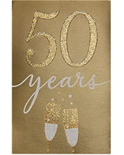 american greetings golden 50th anniversary card for couple with glitter
