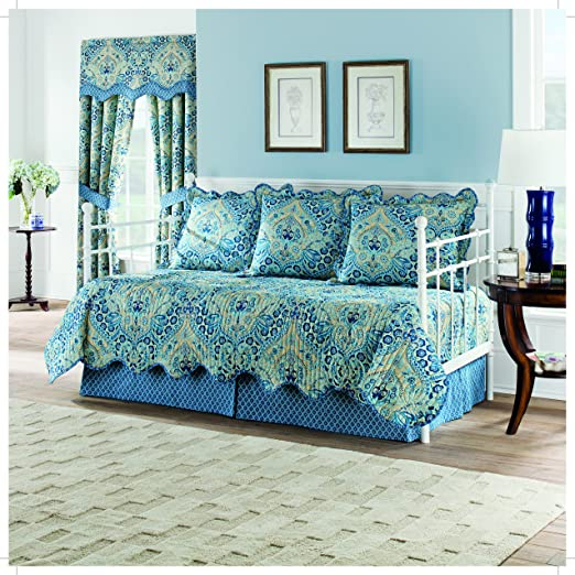 Lapis, Moonlit Shadows Reversible 5 Piece Quilt Daybed Collection by Waverly