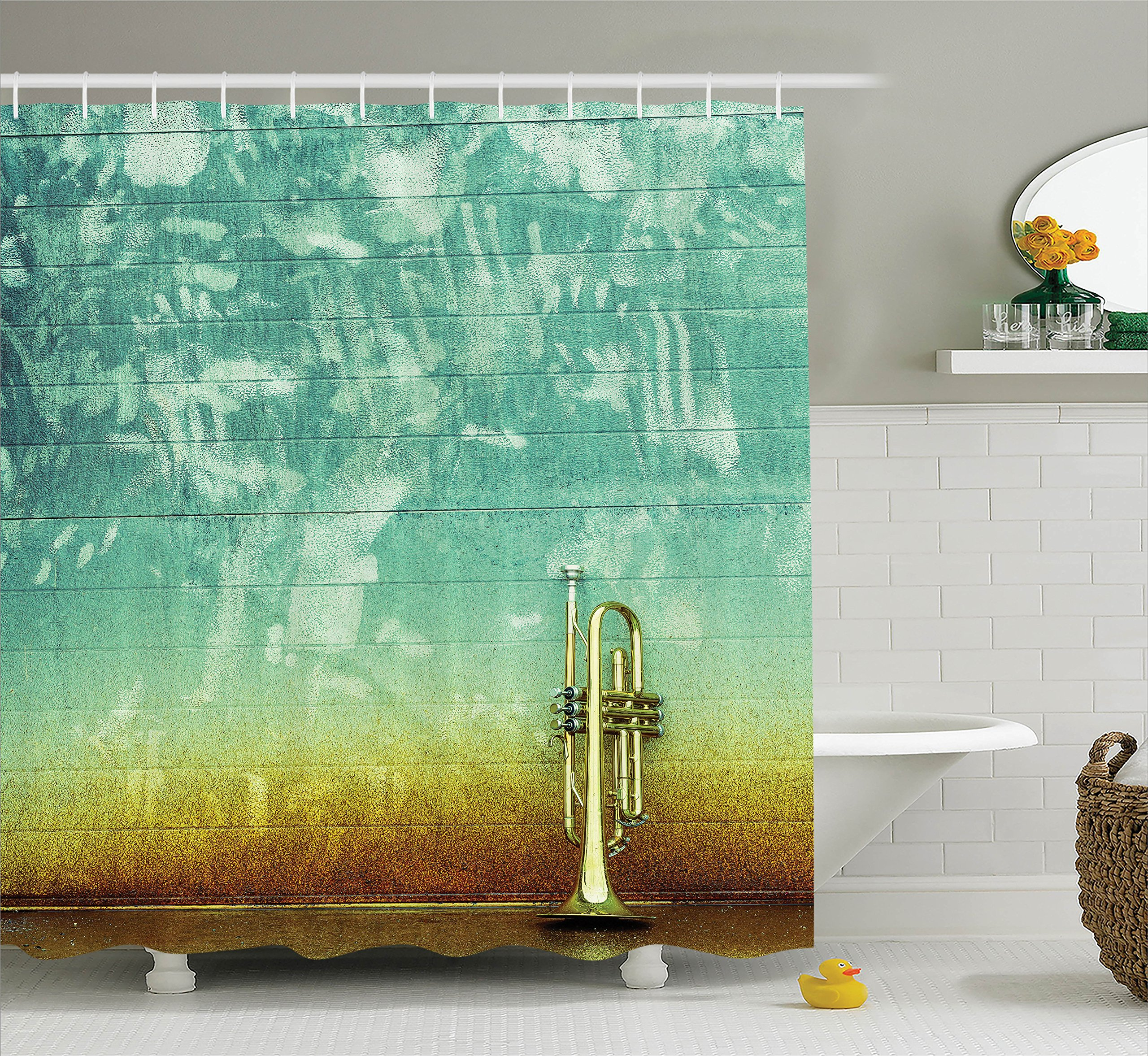 Ambesonne Music Decor Shower Curtain Set, Old Aged Worn Single Trumpet Stands Alone Against a Faded Wall Jazz Music Theme Photo, Bathroom Accessories, 84 inches Extralong, Sea Green Brown