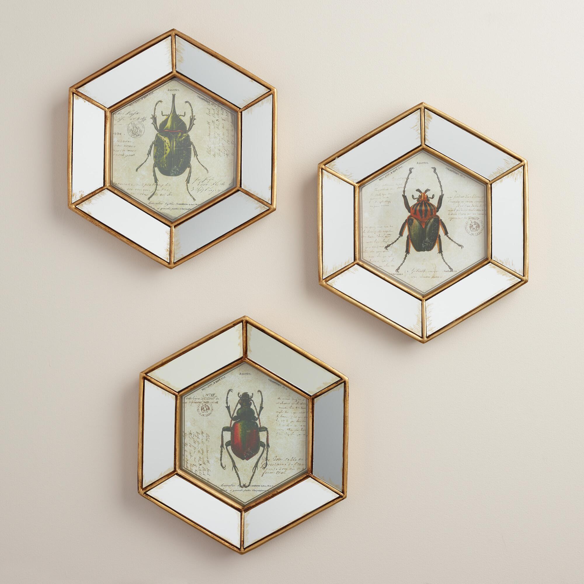 Hexagonal Mirrored Beetle Wall Art, Set of 3 | World Market