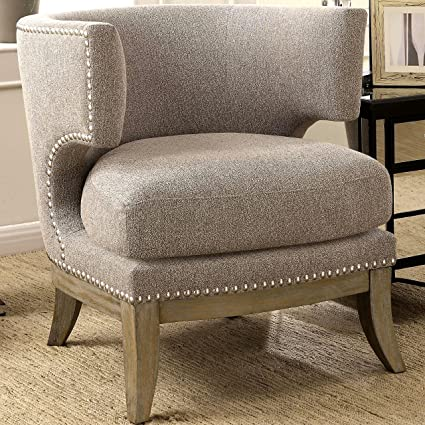 Beau A Line Furniture Luxenberg Mid Century Modern Barrel Back Design Grey  Accent Chair With Nailhead Trim