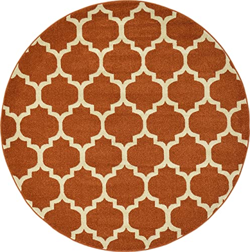 Unique Loom Trellis Collection Moroccan Lattice Light Terracotta Round Rug 6 0 x 6 0