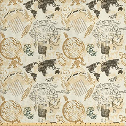 Amazon ambesonne wanderlust decor fabric by the yard vintage ambesonne wanderlust decor fabric by the yard vintage globe world map airship rope knots ribbon gumiabroncs Image collections