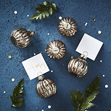 Ginger Ray Gold Bauble Place Card Holders Set Christmas Party Table